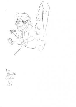 Per Dybvig, Frau mit Winterjacke Sternbräu 13.2.19, 2019, Bleistift auf Papier, ca. 21 x 29,7 cm, courtesy of the artist & Christine König Galerie & Galleri Opdahl