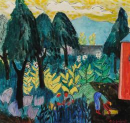 Gerhild Diesner, Tabak pflanzen, 1947, Öl auf textilem Bildträger  © TLM