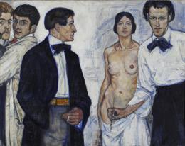 """Theo Glinz, """"Selbstbildnis mit Modell und drei Malerkollegen"""", datiert 1913, Öl auf Leinwand, 90 x 114 cm, Kunstmuseum Thurgau"""