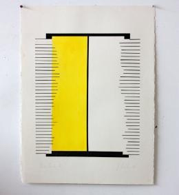 Judy Millar: Untitled, 1998. Gouache (gelb) und schwarzes Klebeband auf Papier, 76 x 47 cm