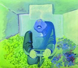 Maria Lassnig: Brettl vorm Kopf, 1967. Sammlung Klewan; © Maria Lassnig Stiftung