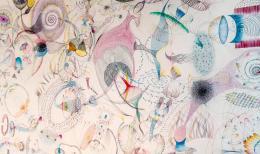 Harald Grünauer: Looking for Unknown Dimensions, 2019. 150 x 1000 cm, Farbstift auf Papier; @ Bildrecht, Wien 2019