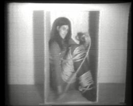 Vito Acconci, Remote Control, 1971, Zwei-Kanal-Video, simultan, U-Matic Low Band, schwarzweiss, Ton, Kunstmuseum Luzern