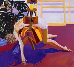 Norbert Tadeusz: Akt auf Stuhl, 1978. Öl / Leinwand, 145 x 160 cm, 1978-01-02, Estate Norbert Tadeusz / Petra Lemmerz