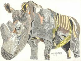 Bazel Al-Bazzaz, Nashorn/Rhinocerus, 2018, Bleistift, Farbstifte/pencil, coloured pencils, 42 x 56 cm, Courtesy galerie gugging
