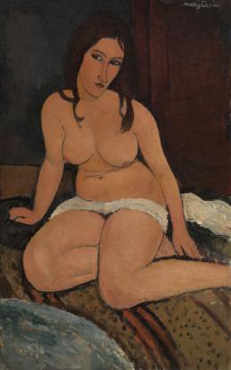 Amedeo Modigliani, Sitzender Akt, 1917,  Antwerpen, Koninklijk Museum voor Schone Kunsten Kmska, Lukasweb – Art in Flanders, Foto © Hugo Maertens