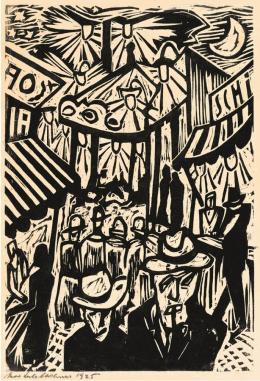 Max Sulzbachner, An der Basler Mäss, 1925. Holzschnitt auf gelbem Papier; 7. Exemplar, Blatt: 40.4 x 28.7 cm, Bild: 35.3 x 24.1. cm; Kunstmuseum Basel, Geschenk Betty und Hartmut Raguse-Stauffer. Photo Credit: Kunstmuseum Basel, Geschenk Betty und Hartmut Raguse-Stauffer
