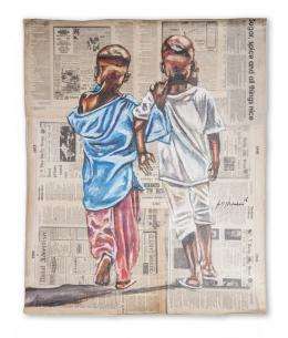 "Andrew Ntshabele ""All things work out for the good"" 2019, Acryl auf Zeitungspapier, 76 x 61 cm, (c) Art South Africa, Kapstadt-ZA"