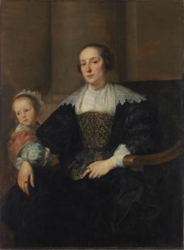 Anthonis van Dyck, Anna van Thielen mit ihrer Tochter Anna Maria Rombouts, um 1631/32. Öl auf Eichenholz, 122,8 x 90,7 cm; © Bayerische Staatsgemäldesammlungen, Alte Pinakothek, München