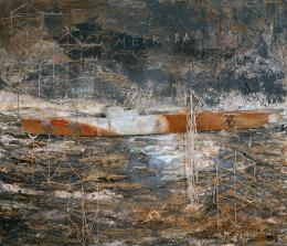 "Anselm Kiefer, ""Merkaba"", 2006, Gips, Bleistreifen und Bleiboot auf Leinwand Albertina, Wien – Sammlung Batliner © Anselm Kiefer"