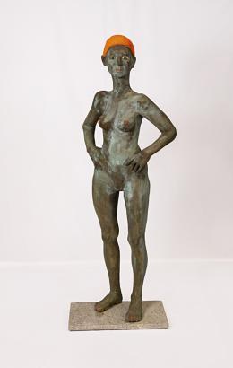 Clemens Heinl, Atlantikschwimmerin, 2020, Kunststoff bronziert, 173 cm © Petra Hippelein, Schwarzbrotdesign
