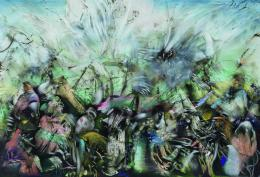Ali Banisadr: Homo Deus, Öl auf Leinwand, 2018, Courtesy Künstler und Blain | Southern © Ali Banisadr, Foto: Jeffrey Sturges
