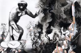 Susanne Kühn, Beastville, 2019, 250 x 380 cm, Acryl, Kohle, Bleistift, Carbon- schwarz und Dispersion auf Leinwand, Foto: Bernhard Strauss © Bildrecht 2019