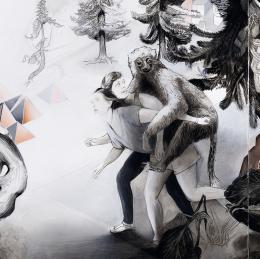Susanne Kühn, Beastville, Detail, 2018, Acryl, Kohle, Bleistift, Carbonschwarz und Dispersion auf Leinwand, Foto: Bernhard Strauss © Bildrecht