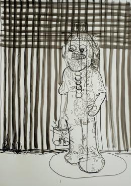 Getzner Christoph & Markus - Des Wachenden Nacht ist lang, Chinatusche auf Papier, 102 x 70 cm  © Getzner Christoph & Markus