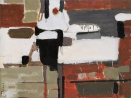 """""""Von meinem hinteren Fenster"""", 1956, New York, Öl auf Leinwand, 76 x 101,5 cm, Teruko Yokoi, Bern © the artist"""