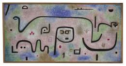 Paul Klee, Insula dulcamara, 1938, 481, Öl- und Kleisterfarbe auf Papier und Jute; originale Rahmenleisten, 88 x 176 cm, Zentrum Paul Klee, Bern