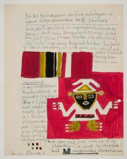 Johannes Itten Blatt aus Tagebuch VI, Krefeld, 14. Juni 1937 bis evtl. 1941 Bezeichnet recto und verso, 1937 - 1941 Gouache, Tinte / Gouache, Tinte 29 x 22.9 cm Kunstmuseum Bern, Johannes Itten-Stiftung, Bern © 2019, ProLitteris, Zürich