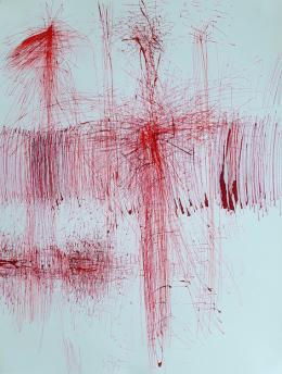 Ruth Rhomberg-Malin, O.T., rote Tusche auf Papier