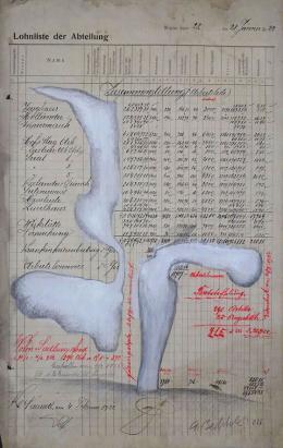 Gottfried Bechtold: Lohnliste 28.1.1922 (2016, 53,2 x 35,1 Zentimeter)