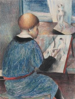 Johannes Itten Zeichnender Junge, 1926 Bleistift und Farbstift auf Papier 22 x 16.7 cm Privatbesitz © 2019, ProLitteris, Zürich