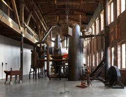 """Blast Furnace, 2013, at exhibition """"The CryptoFuturist and the New Tribal Labything"""", Pioneer Works NYC, 2019 © Pioneer Works"""
