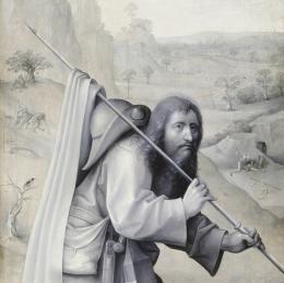 Hieronymus Bosch: Weltgerichts-Triptychon, Detail des Außenflügels mit dem Heiligen Jacobus d. Ä., um 1490 – um 1505, Öltempera auf Eiche © Gemäldegalerie der Akademie der bildenden Künste Wien