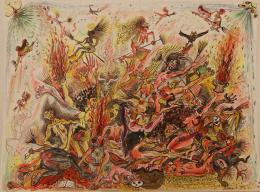 """Alexander Brener / Barbara Schurz, """"Tremate"""", 2018,  Tusche, Buntstift und Aquarell auf Aquarellpapier, 38 x 56 cm, Privatsammlung"""