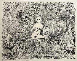 """Alexander Brener / Barbara Schurz, aus der Serie Verborgenheit: """"White Shadow"""", 2018,  10 Arbeiten, Tusche auf Aquarellpapier, 24 x 30cm, Courtesy of the Artists"""