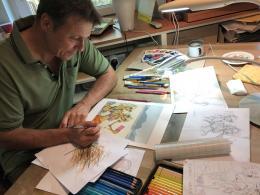 Bruno Haberzettl in seinem Atelier (c) Karikaturmuseum Krems