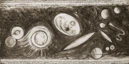 """Günter Brus, """"Stillstand der Dynamik"""", 2003,  Strichnadel, Kaltnadel auf Kupfer, Schrift in Lithografie abfallend gedruckt, Blatt: 97 x 197,5 cm, Druckplatte: 100 x 200 cm, Privatsammlung, Foto: Universalmuseum Joanneum/N. Lackner"""