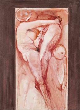 Miriam Cahn: fleischbild/familienbild, 29.11. + 06.12.2017. Öl auf Leinwand, 185 x 135 cm; Courtesy of Miriam Cahn, Galerie Meyer Riegger and Galerie Jocelyn Wolff. Foto: Markus Mühlheim