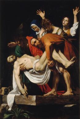 Michelangelo Merisi, gen. Caravaggio (1571 - 1610): Die Grablegung Christi, 1602/03. Leinwand, 300 × 203 cm; © Vatikanstadt, Musei Vaticani, Pinacoteca Vaticana