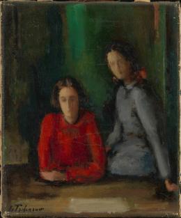 Johann von Tscharner, Zwei Mädchen, o. J. Öl auf Leinwand, 29.5 x 24.5 cm Aargauer Kunsthaus, Aarau / Depositum Sammlung Werner Coninx Foto: SIK-ISEA, Zürich (Philipp Hitz)