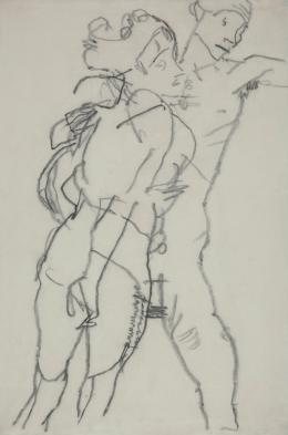 Egon Schiele Selbstporträt mit Edith, 1915, Bleistift auf Papier, Museum der Moderne Salzburg, Foto: Rainer Iglar