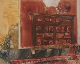 Helena Wyss-Scheffler, Die spanische Kommode, 2018 Aquarell und Gouache auf Baumwolle, 120 x 150 cm