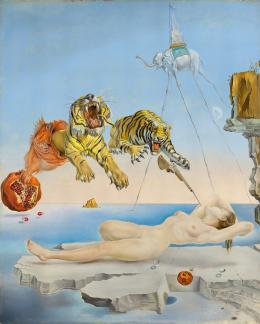 Traum verursacht durch den Flug einer Biene um einen Granatapfel vor dem Erwachen, Salvador Dalí, 1944, Museo Nacional Thyssen-Bornemisza, Madrid © Fundació Gala-Salvador Dalí, Figueres/ VG Bild-Kunst, Bonn 2020