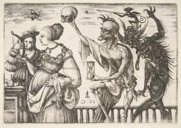 Daniel Hopfer, Tod und Teufel überraschen zwei Frauen, 1500–1510, Radierung, The Metropolitan Museum of Art, New York