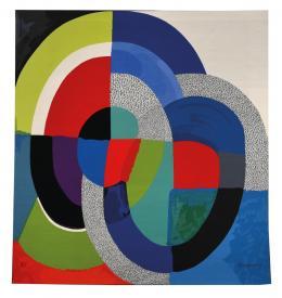 Sonia Delaunay (1885-1979), Tafel 1954, 2000. Manufacture des Gobelins, 293 × 273 cm, Wolle; Sammlung Mobilier national. © Pracusa, Foto: Philippe Sébert