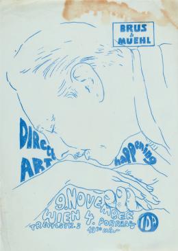 "Günter Brus, ""Direct Art-Festival / Brus-Design 1"", 1967,  Matrizendruck auf Papier, 29,5 x 21 cm, Galerie Gerhard Sommer, Foto: Universalmuseum Joanneum/N. Lackner"