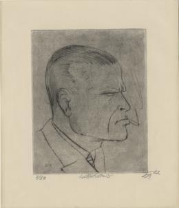 Otto Dix, Selbstbildnis (mit Zigarette). Blatt 1 aus der Mappe «Radierwerk III, erster Teil, 1922 Kaltnadelradierung auf weissem Büttenpapier, 38,8 x 28 cm Kunsthaus Zürich © 2019 ProLitteris, Zürich