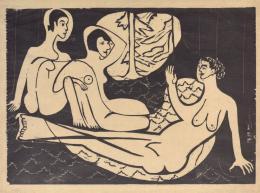 Ernst Ludwig Kirchner: Drei Akte im Walde, 1933. Holzschnitt, 35,3 x 49,7 cm; © Kirchner Museum Davos