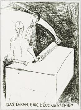 """Günter Brus, """"Das Leben, eine Druckmaschine"""", 2002,  Kaltnadel auf Kupfer, Blatt: 75,6 x 53 cm, Druckplatte: 38,8 x 29 cm, Privatsammlung, Foto: Universalmuseum Joanneum/N. Lackner"""