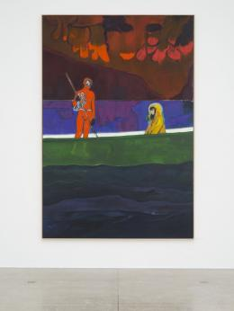 Peter Doig, Spearfisher (Red Moon), 2019, Ausstellungsansicht Secession 2019, Foto: Hannes Böck, Courtesy the artist and Michael Werner Gallery, New York and London / Bildrecht Wien, 2019