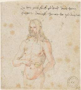 Albrecht Dürer, Selbstbildnis, krank, um 1509/11 Feder in braun, stellenweise aquarelliert, 11,8 x 10,8 cm Kunsthalle Bremen – Der Kunstverein in Bremen, Kupferstichkabinett