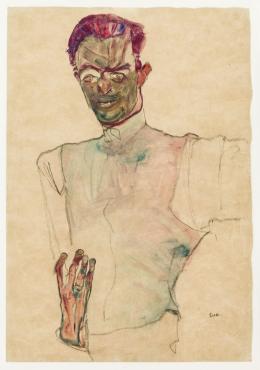 Egon Schiele, Selbstbildnis mit Gilet, 1910 © Landessammlungen NÖ