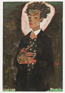 Egon Schiele, Selbstporträt mit Pfauenweste, 1911, Ernst Ploil, Wien