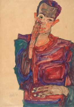 Egon Schiele, Selbstbildnis mit herabgezogenem Augenlid, 1910, Kreide, Pinsel, Aquarell, Deckfarben auf braunem Packpapier © Albertina, Wien