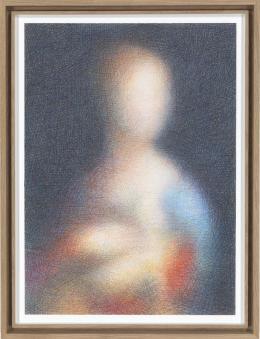 Slawomir Elsner  Dame mit Hermelin, 2018 (nach Leonardo da Vinci, 1488–1490, Museum Narodowe w Krakowie) Buntstift auf Papier, 54,7 x 40,3 cm Leihgabe Privatsammlung Berlin, Courtesy Slawomir Elsner Foto: Lea Greyze