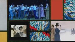 """Filmstill aus: Mondrianmaschine Nr.3 """"Puschkin's Lost Diary"""". Courtesy: Alexander Kluge / Sarah Morris"""